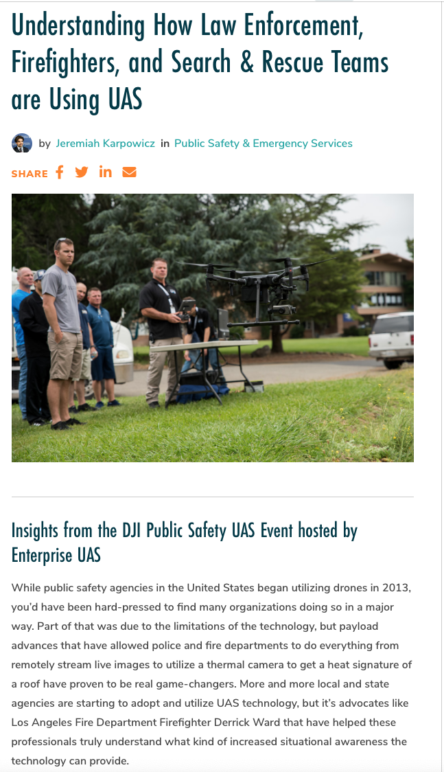 Understanding How Law Enforcement,, Firefighters and Search and Rescue Teams are using UAS