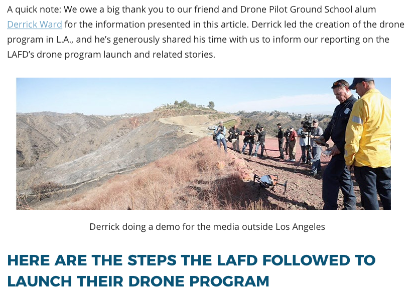 Derrick  Ward Helped to Lead the Creation of the Drone Program In L.A>